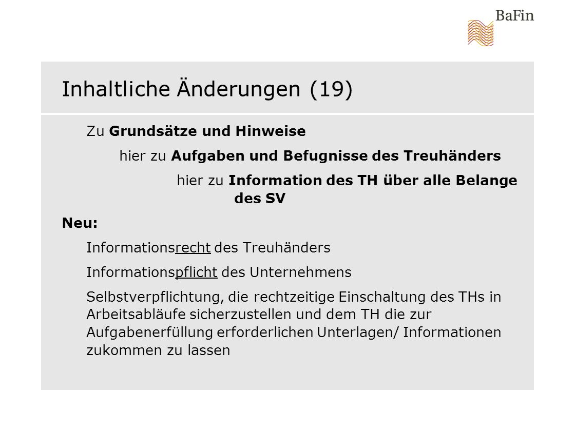 Inhaltliche Änderungen (19)