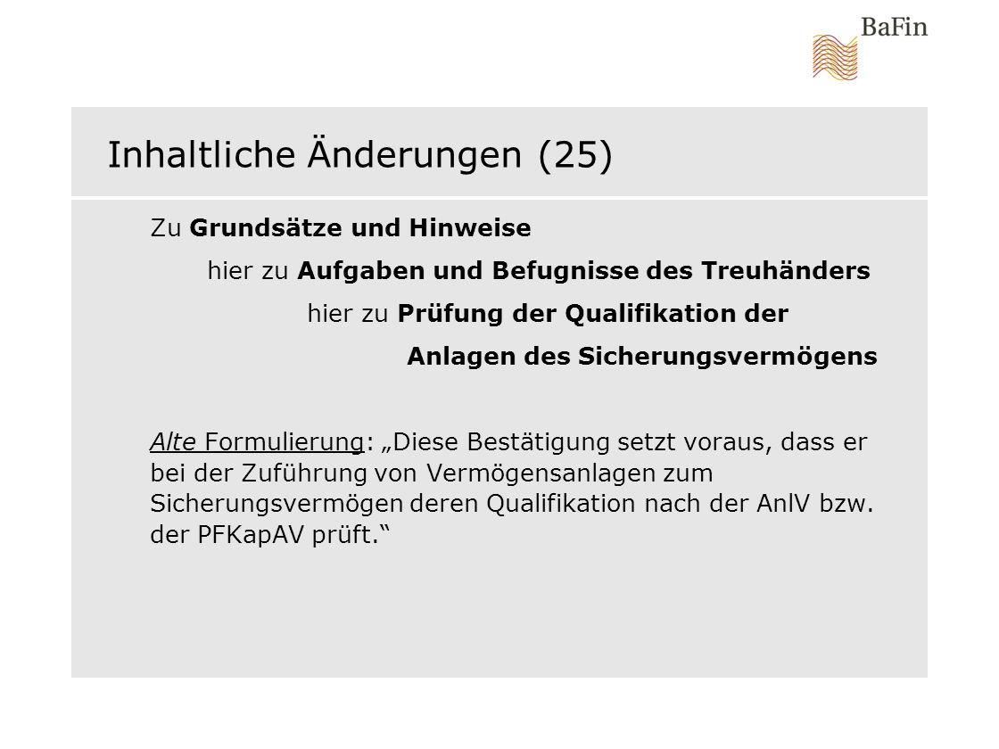 Inhaltliche Änderungen (25)