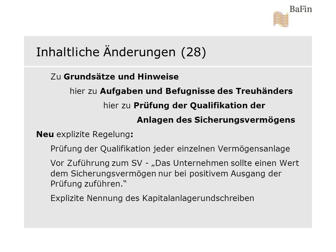 Inhaltliche Änderungen (28)