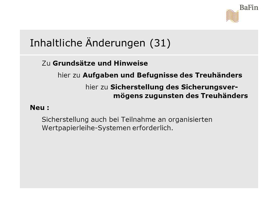 Inhaltliche Änderungen (31)