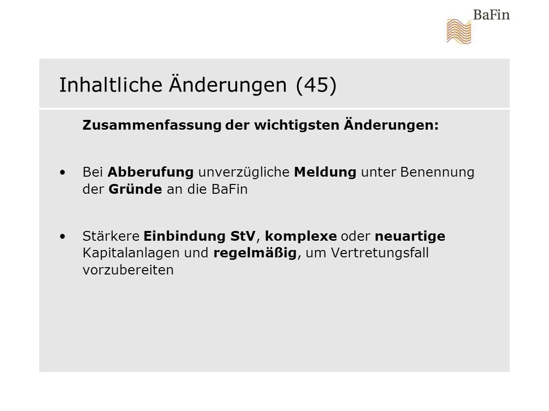 Inhaltliche Änderungen (45)