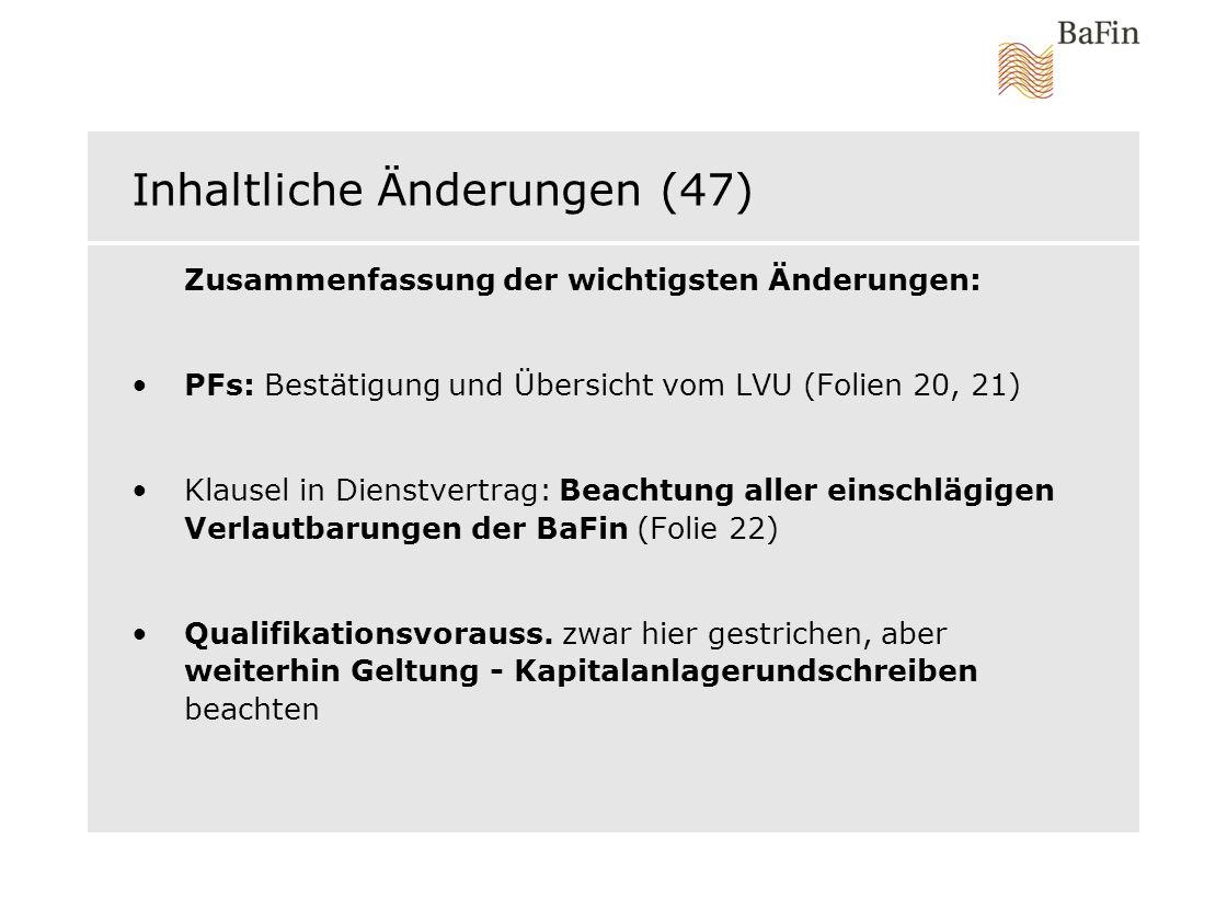 Inhaltliche Änderungen (47)