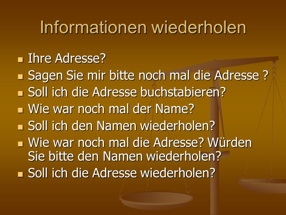 Informationen wiederholen