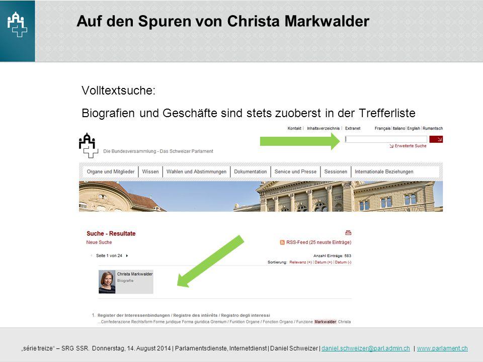 Auf den Spuren von Christa Markwalder