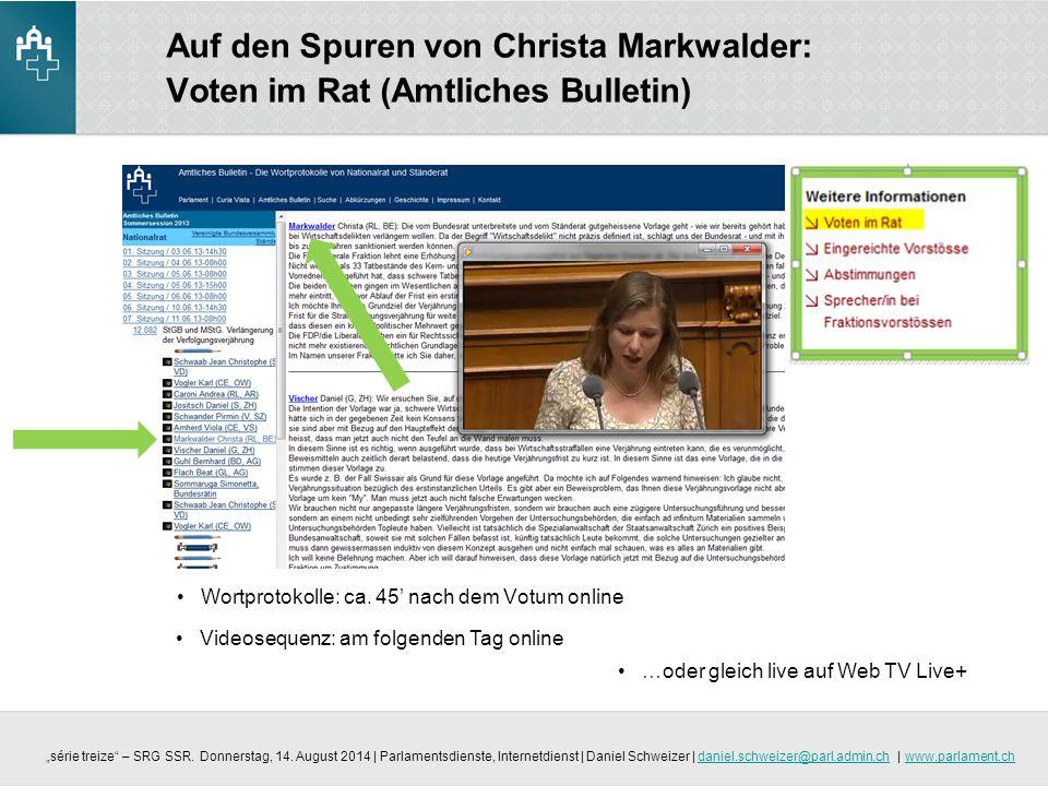 Auf den Spuren von Christa Markwalder: Voten im Rat (Amtliches Bulletin)