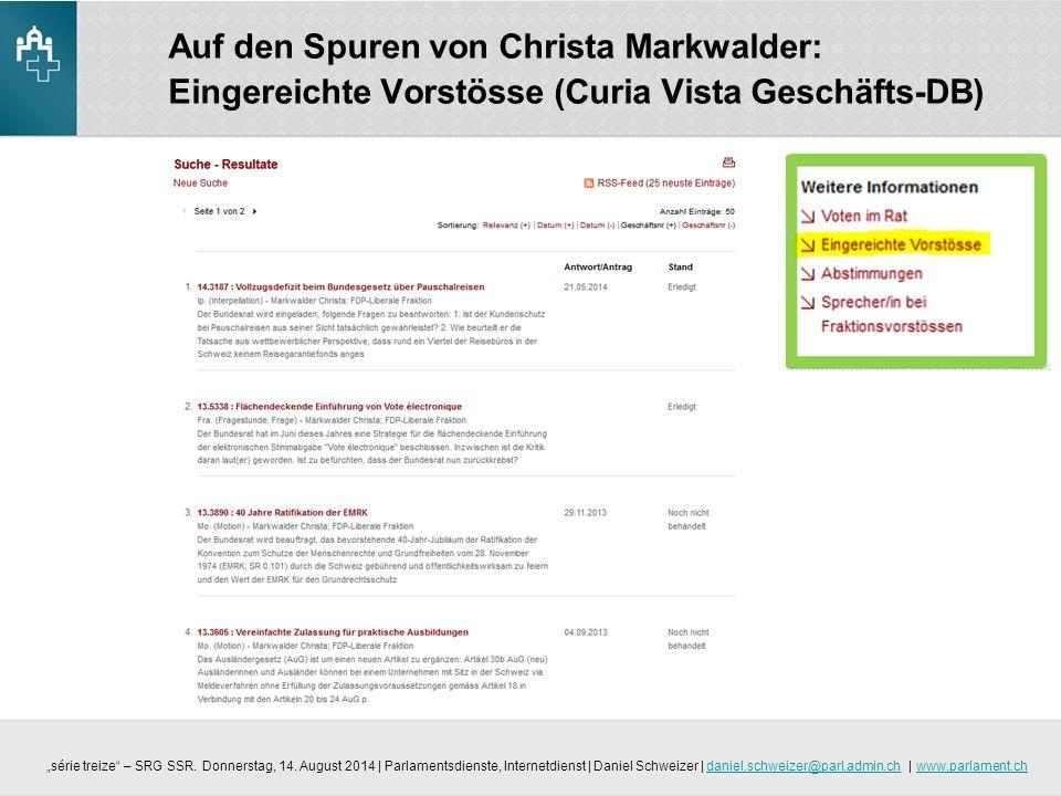 Auf den Spuren von Christa Markwalder: Eingereichte Vorstösse (Curia Vista Geschäfts-DB)