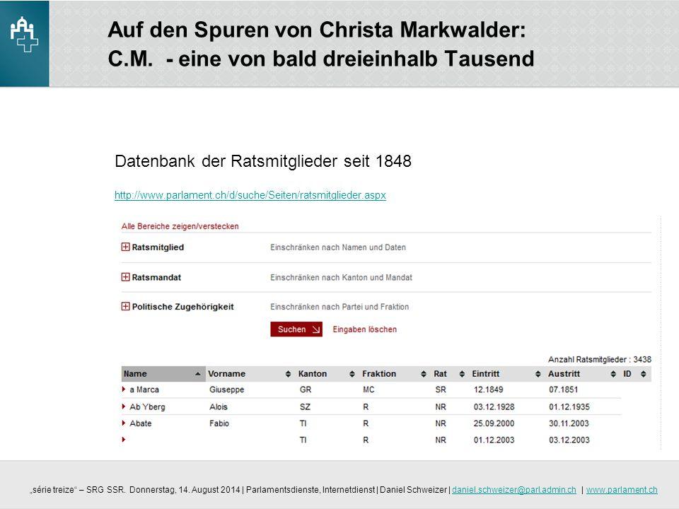 Auf den Spuren von Christa Markwalder: C. M