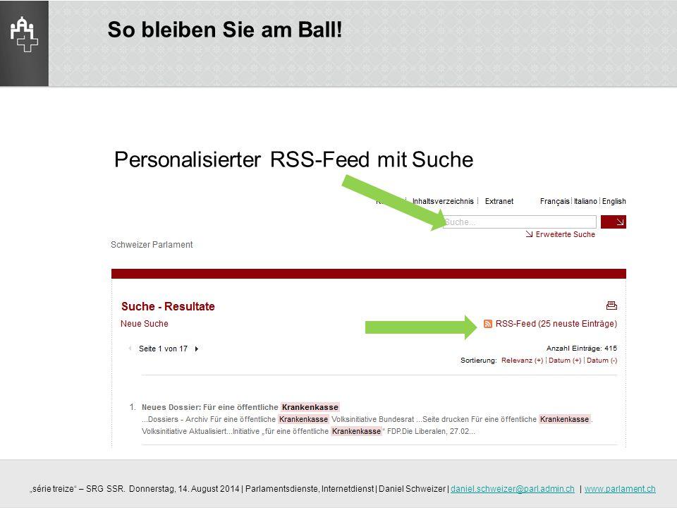 Personalisierter RSS-Feed mit Suche