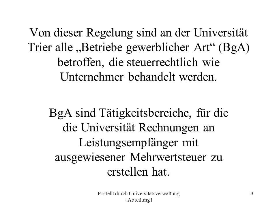 Erstellt durch Universitätsverwaltung - Abteilung I