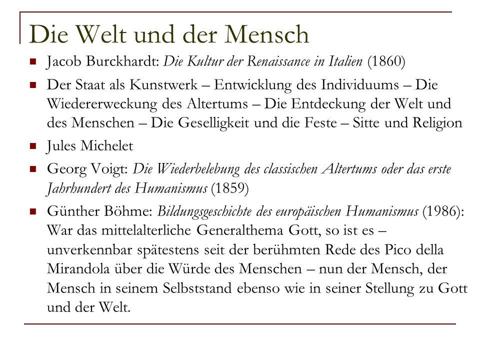 Die Welt und der Mensch Jacob Burckhardt: Die Kultur der Renaissance in Italien (1860)