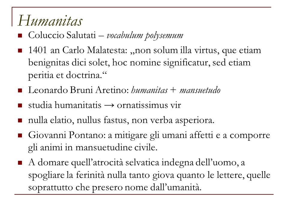 Humanitas Coluccio Salutati – vocabulum polysemum