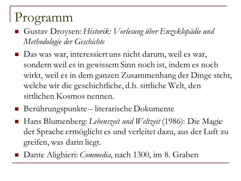 Programm Gustav Droysen: Historik: Vorlesung über Enzyklopädie und Methodologie der Geschichte.