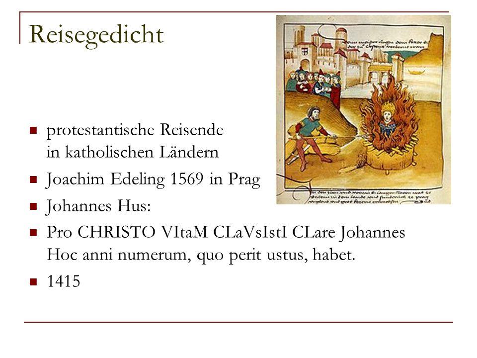 Reisegedicht protestantische Reisende in katholischen Ländern