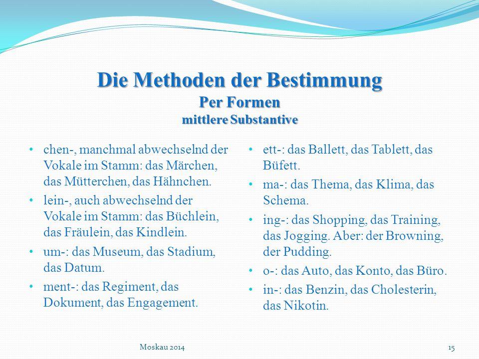 Die Methoden der Bestimmung Per Formen mittlere Substantive