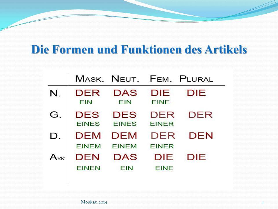 Die Formen und Funktionen des Artikels