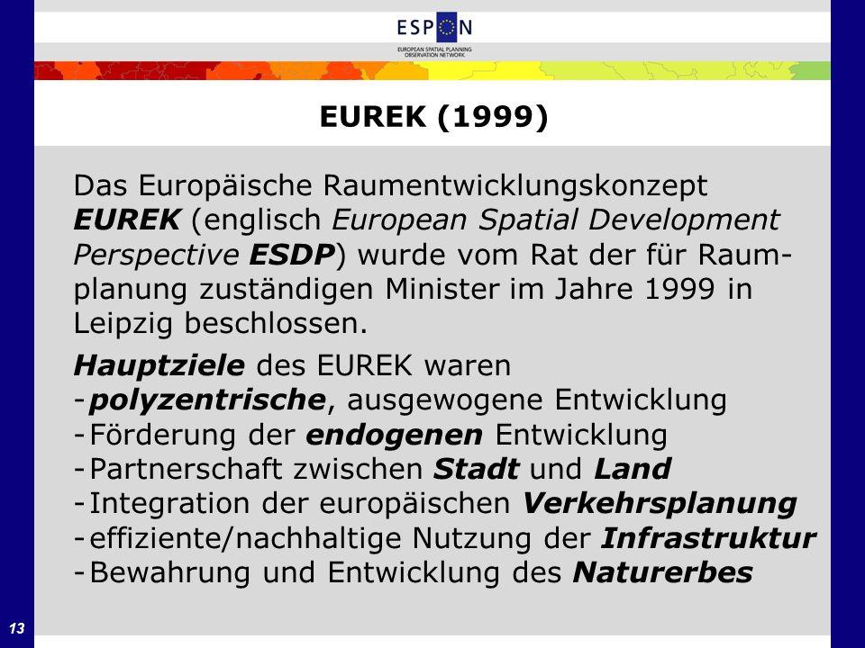 EUREK (1999) Das Europäische Raumentwicklungskonzept. EUREK (englisch European Spatial Development.
