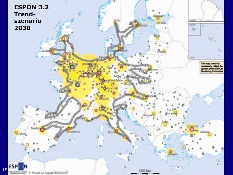 ESPON 3.2 Trend- szenario 2030 ESPON-Projekt 3.2 (2006)