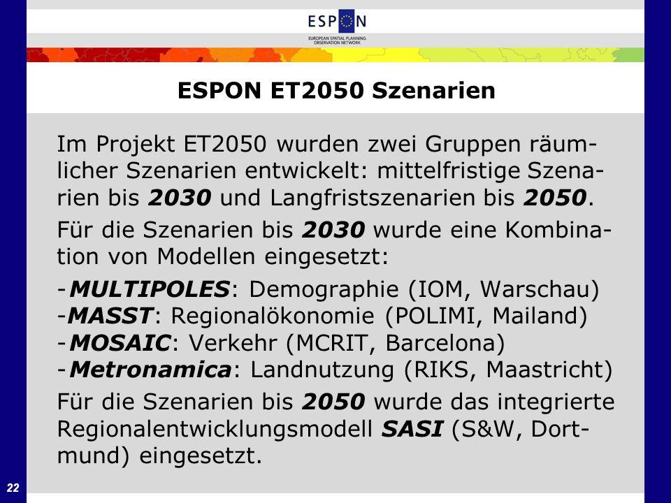 ESPON ET2050 Szenarien Im Projekt ET2050 wurden zwei Gruppen räum- licher Szenarien entwickelt: mittelfristige Szena-