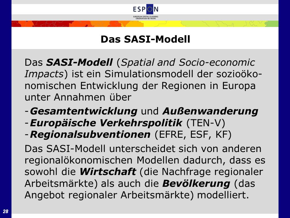 Das SASI-Modell Das SASI-Modell (Spatial and Socio-economic. Impacts) ist ein Simulationsmodell der sozioöko-