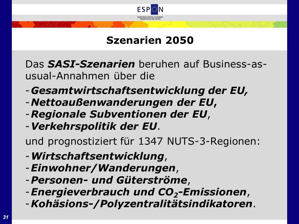 Szenarien 2050 Das SASI-Szenarien beruhen auf Business-as- usual-Annahmen über die. - Gesamtwirtschaftsentwicklung der EU,