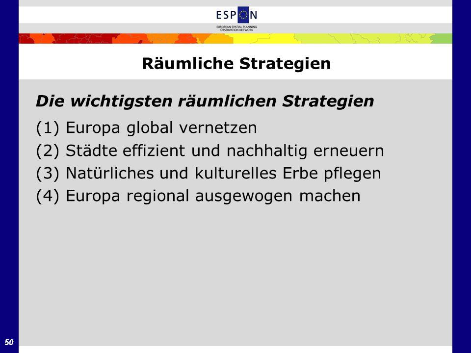 Räumliche Strategien Die wichtigsten räumlichen Strategien. (1) Europa global vernetzen. (2) Städte effizient und nachhaltig erneuern.