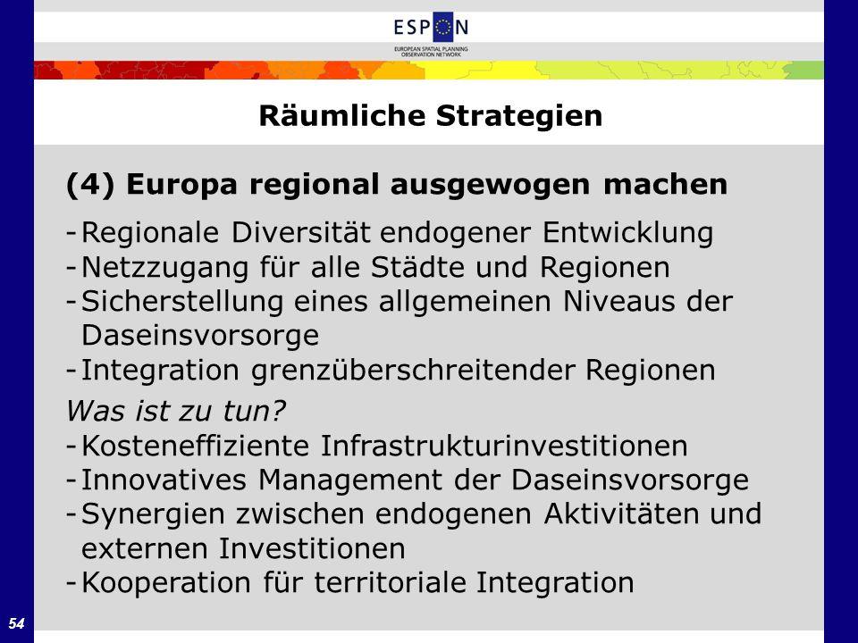 Räumliche Strategien (4) Europa regional ausgewogen machen. - Regionale Diversität endogener Entwicklung.