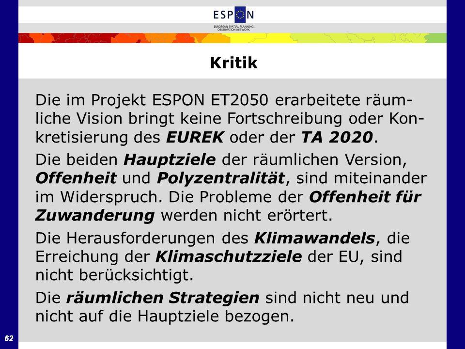 Kritik Die im Projekt ESPON ET2050 erarbeitete räum-liche Vision bringt keine Fortschreibung oder Kon-kretisierung des EUREK oder der TA 2020.