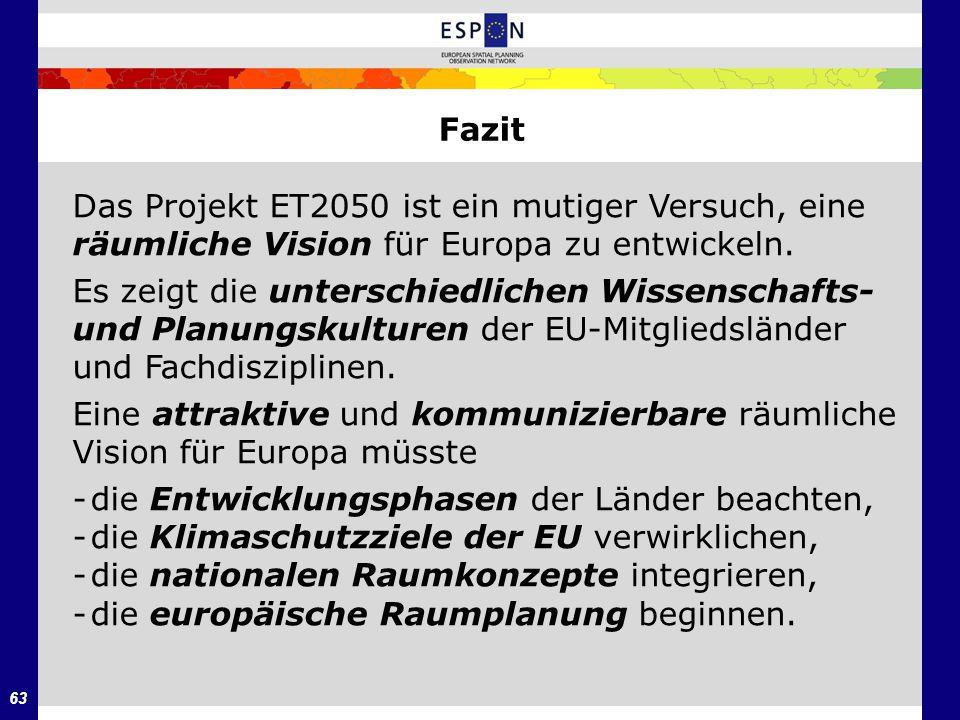 Fazit Das Projekt ET2050 ist ein mutiger Versuch, eine. räumliche Vision für Europa zu entwickeln.