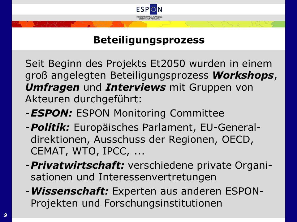 Beteiligungsprozess Seit Beginn des Projekts Et2050 wurden in einem. groß angelegten Beteiligungsprozess Workshops,