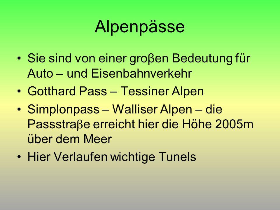 Alpenpässe Sie sind von einer groβen Bedeutung für Auto – und Eisenbahnverkehr. Gotthard Pass – Tessiner Alpen.