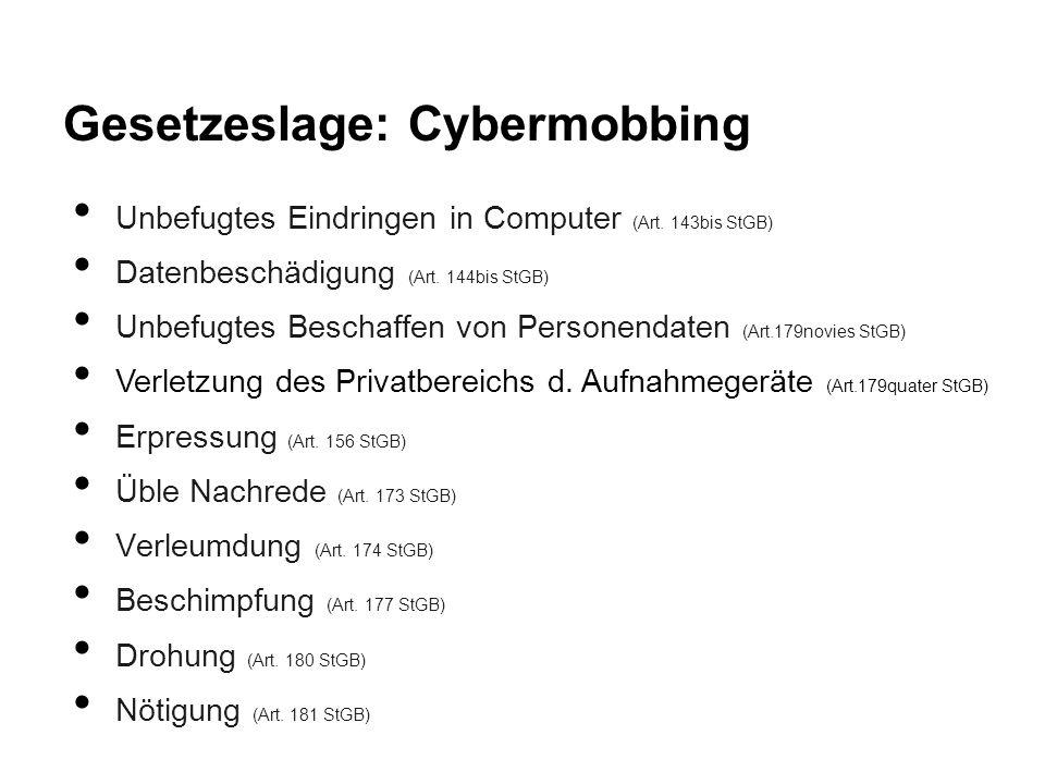 Gesetzeslage: Cybermobbing