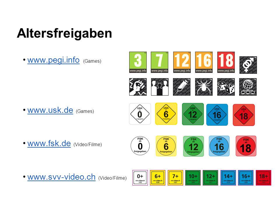 Altersfreigaben www.pegi.info (Games) www.usk.de (Games)