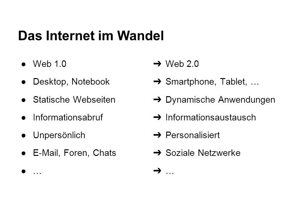 Das Internet im Wandel Web 1.0 Desktop, Notebook Statische Webseiten
