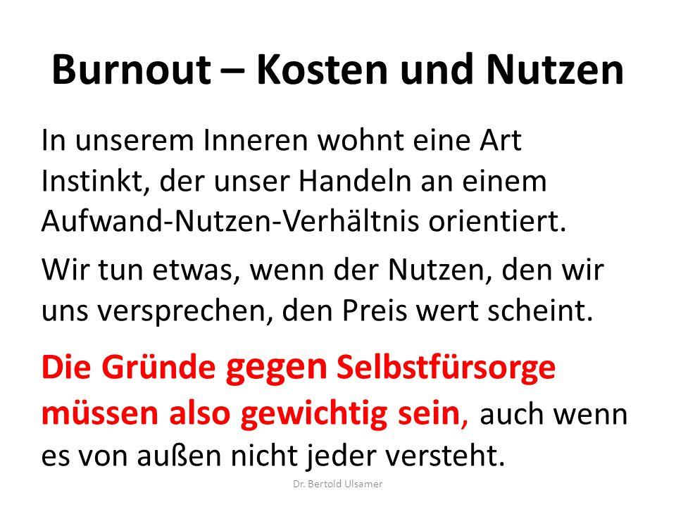 Burnout – Kosten und Nutzen