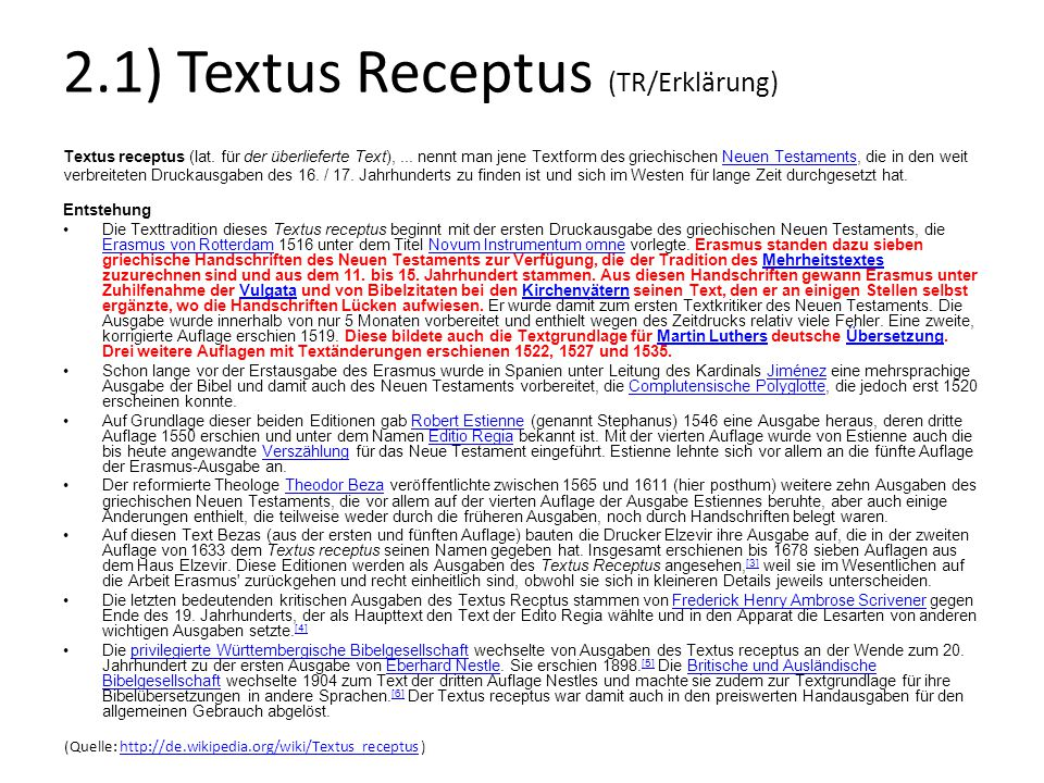 2.1) Textus Receptus (TR/Erklärung)