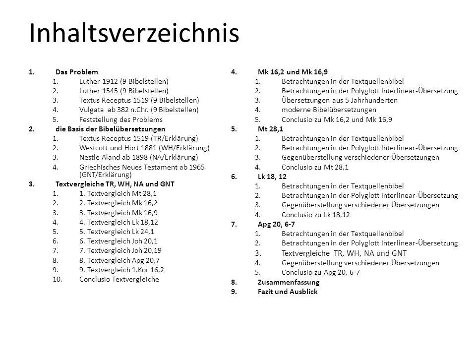 Inhaltsverzeichnis Textvergleiche TR, WH, NA und GNT Das Problem