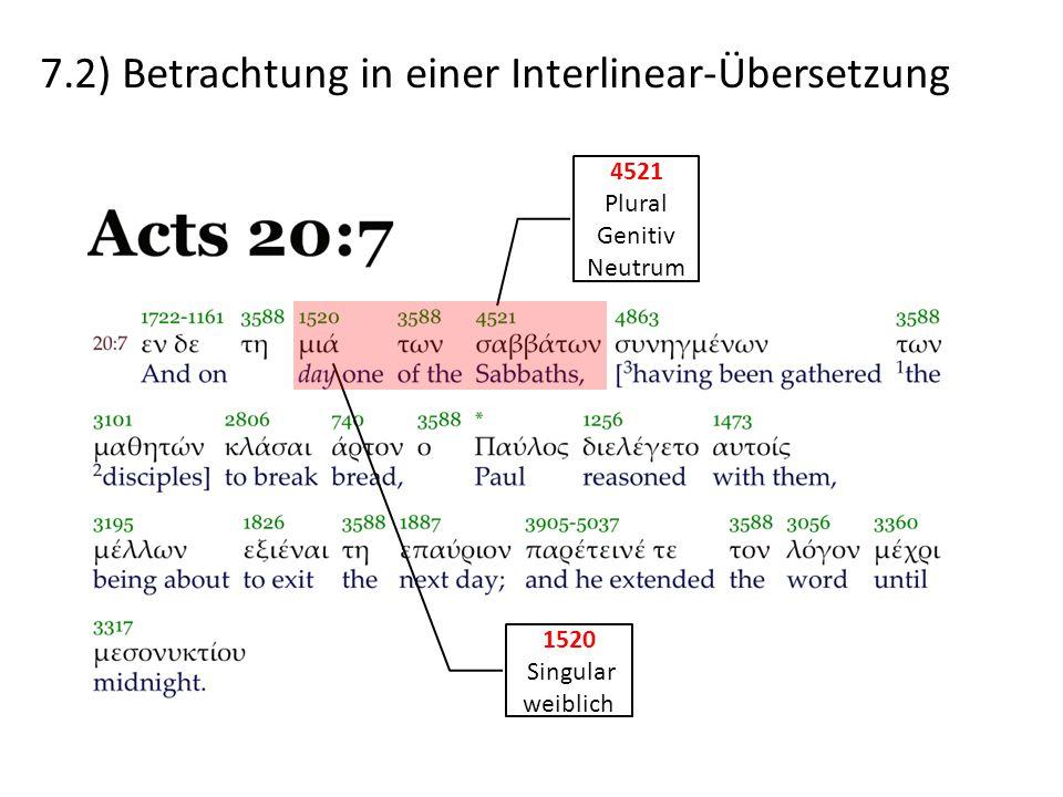 7.2) Betrachtung in einer Interlinear-Übersetzung