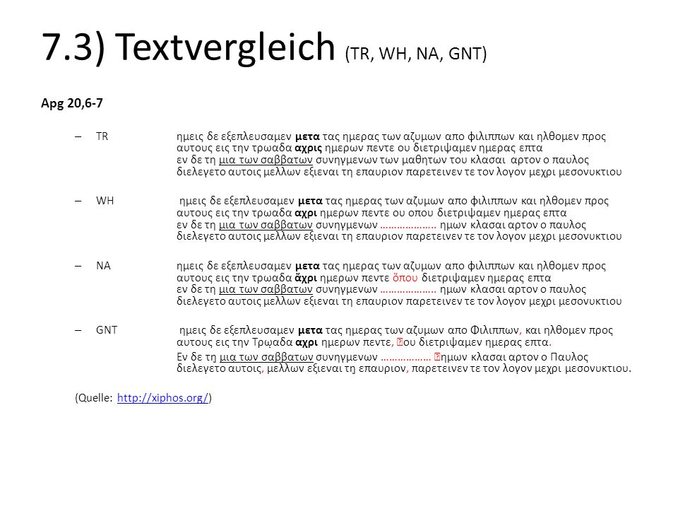 7.3) Textvergleich (TR, WH, NA, GNT)