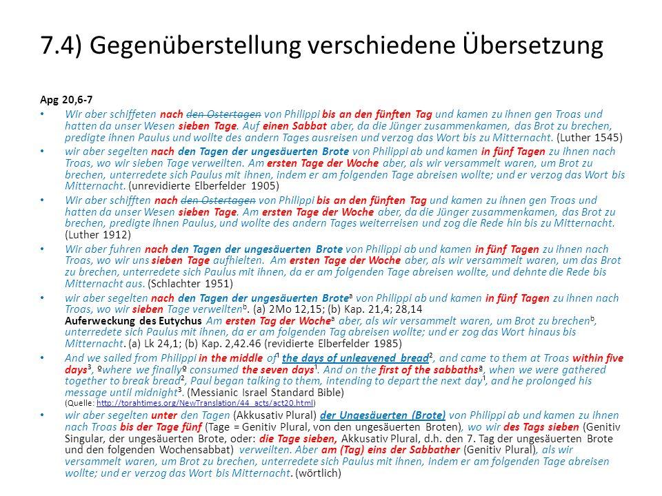 7.4) Gegenüberstellung verschiedene Übersetzung