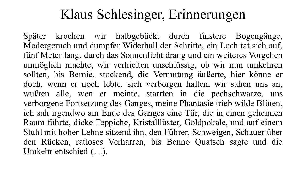 Klaus Schlesinger, Erinnerungen