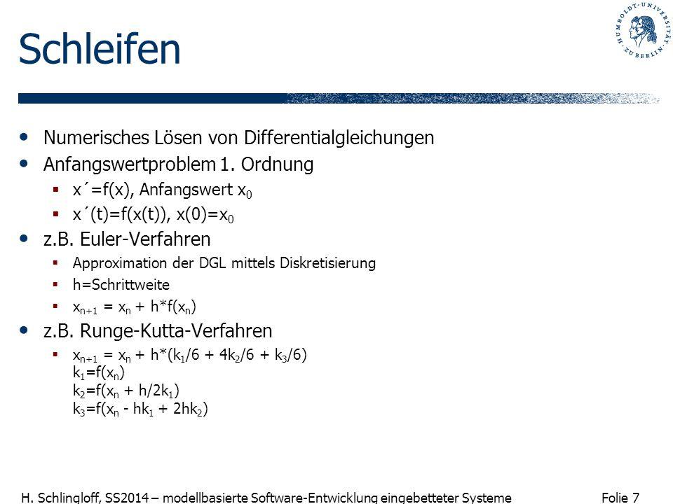 Schleifen Numerisches Lösen von Differentialgleichungen