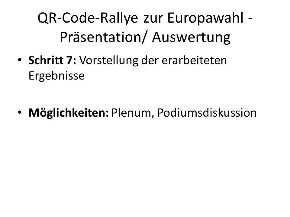 QR-Code-Rallye zur Europawahl - Präsentation/ Auswertung