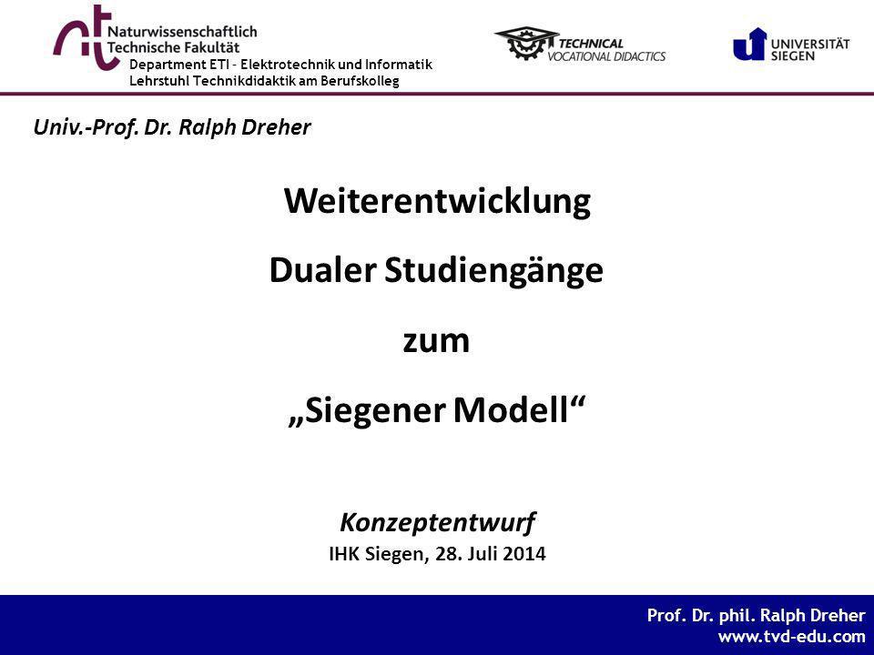 """Weiterentwicklung Dualer Studiengänge zum """"Siegener Modell"""