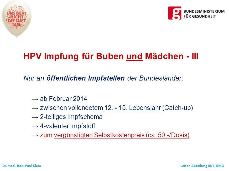 HPV Impfung für Buben und Mädchen - III