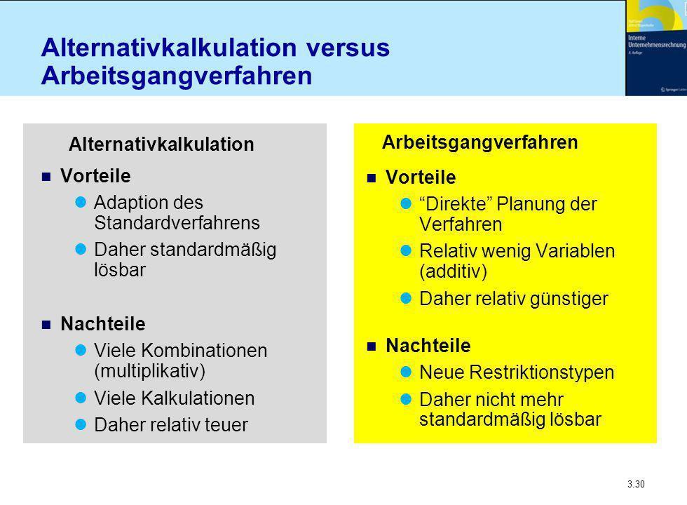 Alternativkalkulation versus Arbeitsgangverfahren