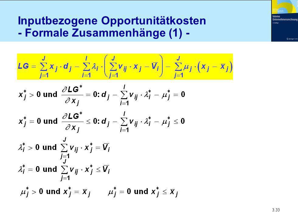 Inputbezogene Opportunitätkosten - Formale Zusammenhänge (1) -