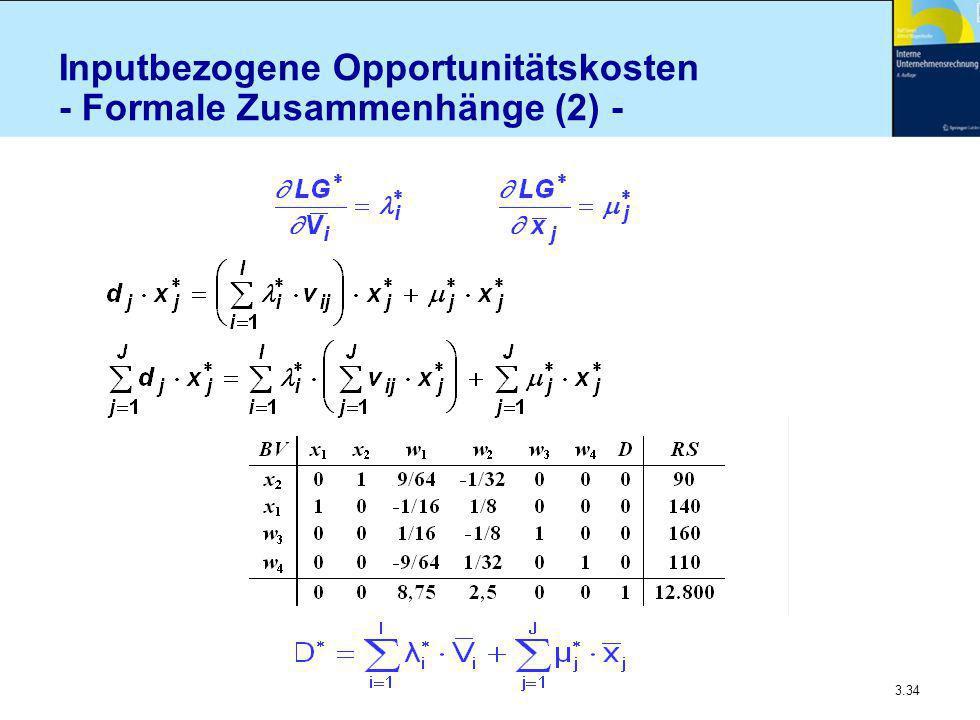 Inputbezogene Opportunitätskosten - Formale Zusammenhänge (2) -
