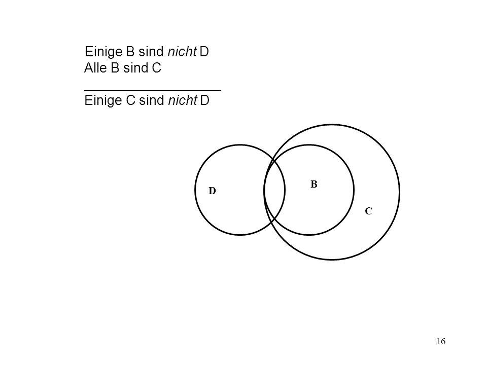 Einige B sind nicht D Alle B sind C __________________ Einige C sind nicht D