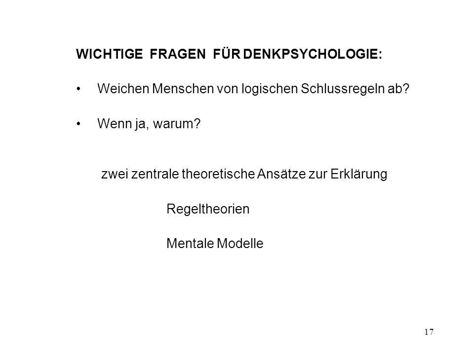 WICHTIGE FRAGEN FÜR DENKPSYCHOLOGIE: