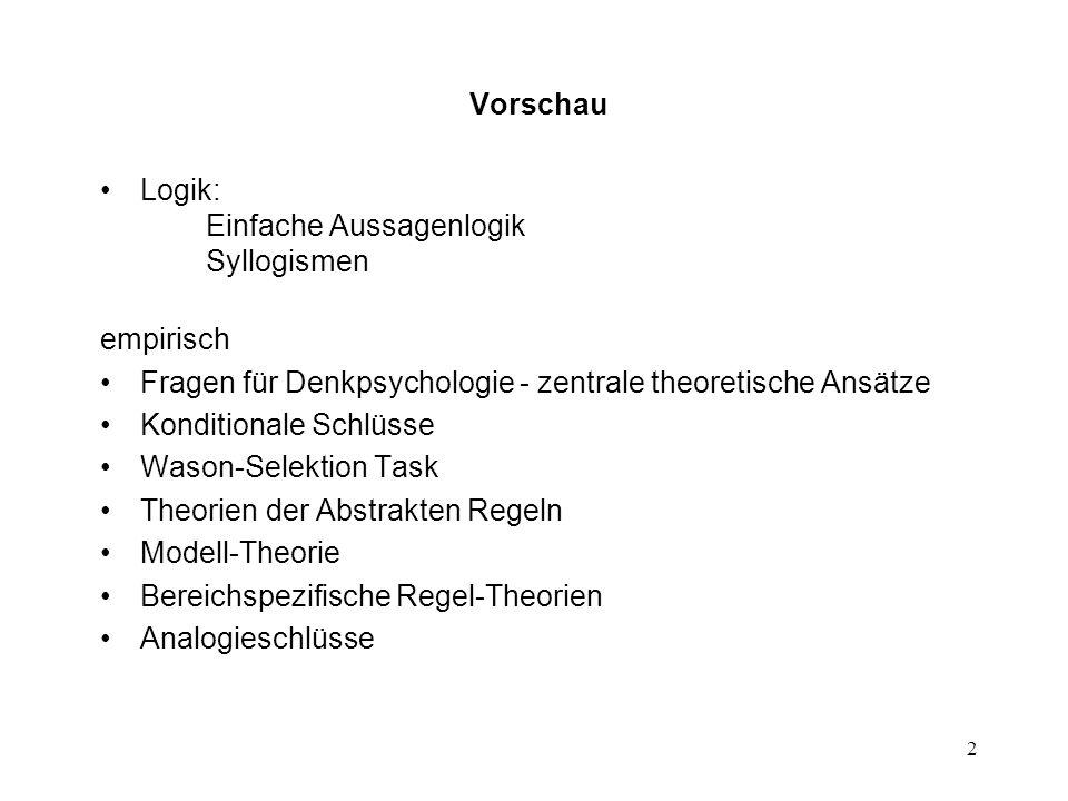 Vorschau Logik: Einfache Aussagenlogik Syllogismen. empirisch. Fragen für Denkpsychologie - zentrale theoretische Ansätze.